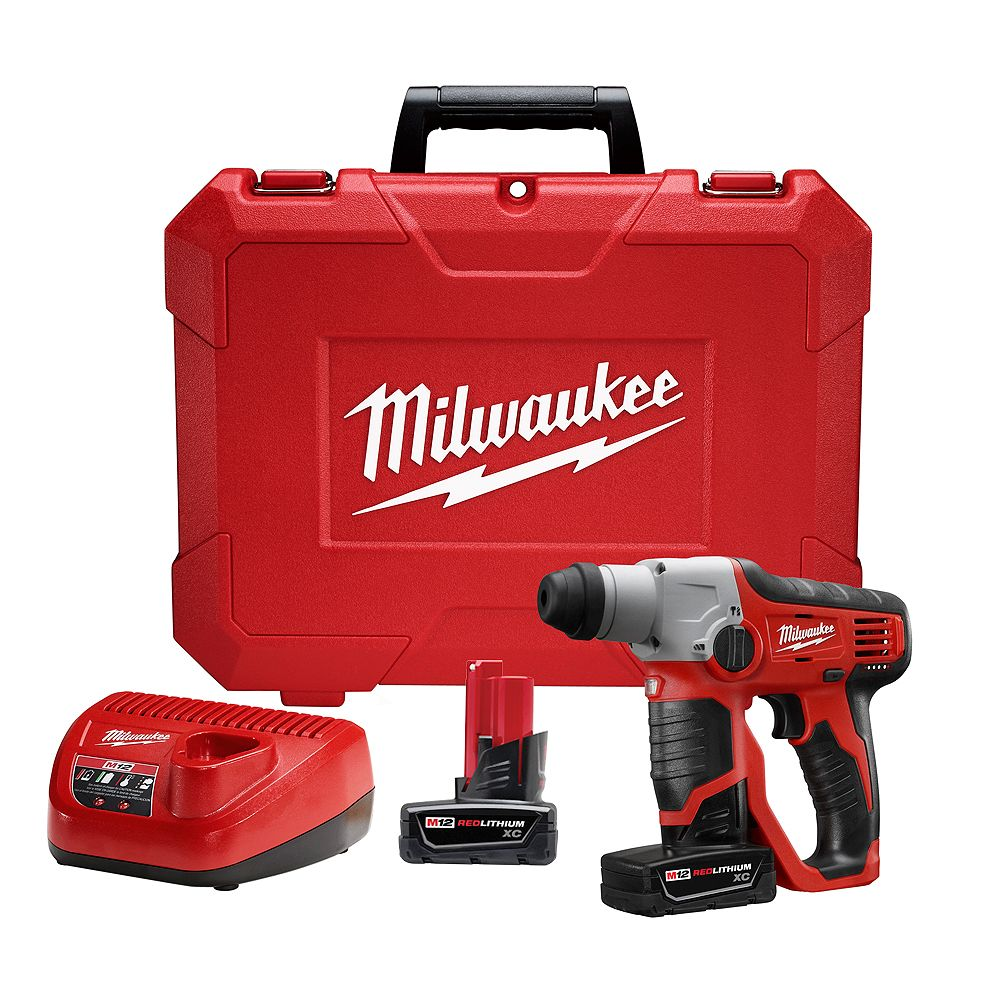 Milwaukee Tool M12 12V Li-Ion Cordless 1/2 -inch SDS-Plus Rotary Hammer with (2) 3.0Ah Batteries, Charger & Case