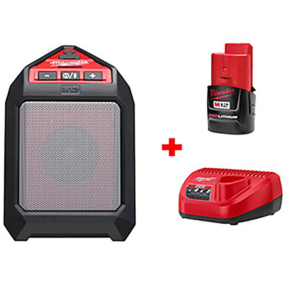 Milwaukee Tool M12 12V Li-Ion Cordless Bluetooth Wireless Jobsite Speaker Kit W/ (1) 1.5Ah Battery, Charger