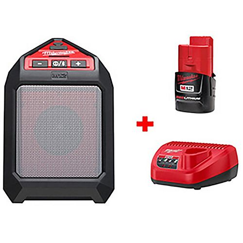 Milwaukee Tool M12 12V Li-Ion Cordless Bluetooth Wireless Jobsite Speaker Kit W/ (1) 1.5Ah Battery, Charger