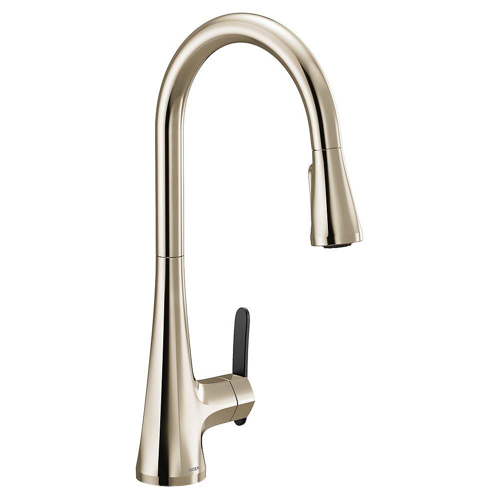 MOEN Sinema Single-Handle High Arc Pulldown Kitchen Faucet In Polished Nickel