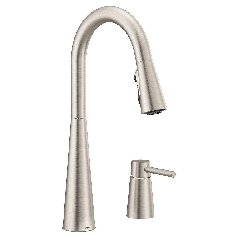 MOEN Sleek Single-Handle High Arc Pulldown Kitchen Faucet In Spot Resist Stainless