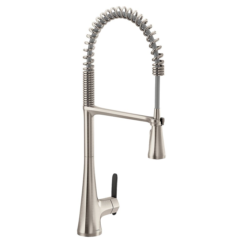 MOEN Sinema Single-Handle High Arc Spring Pulldown Kitchen Faucet In Spot Resist Stainless