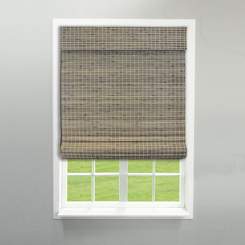 Radiance 39-Inch W x 64-Inch L Driftwood Flatweave Bamboo Cordless Roman Shades