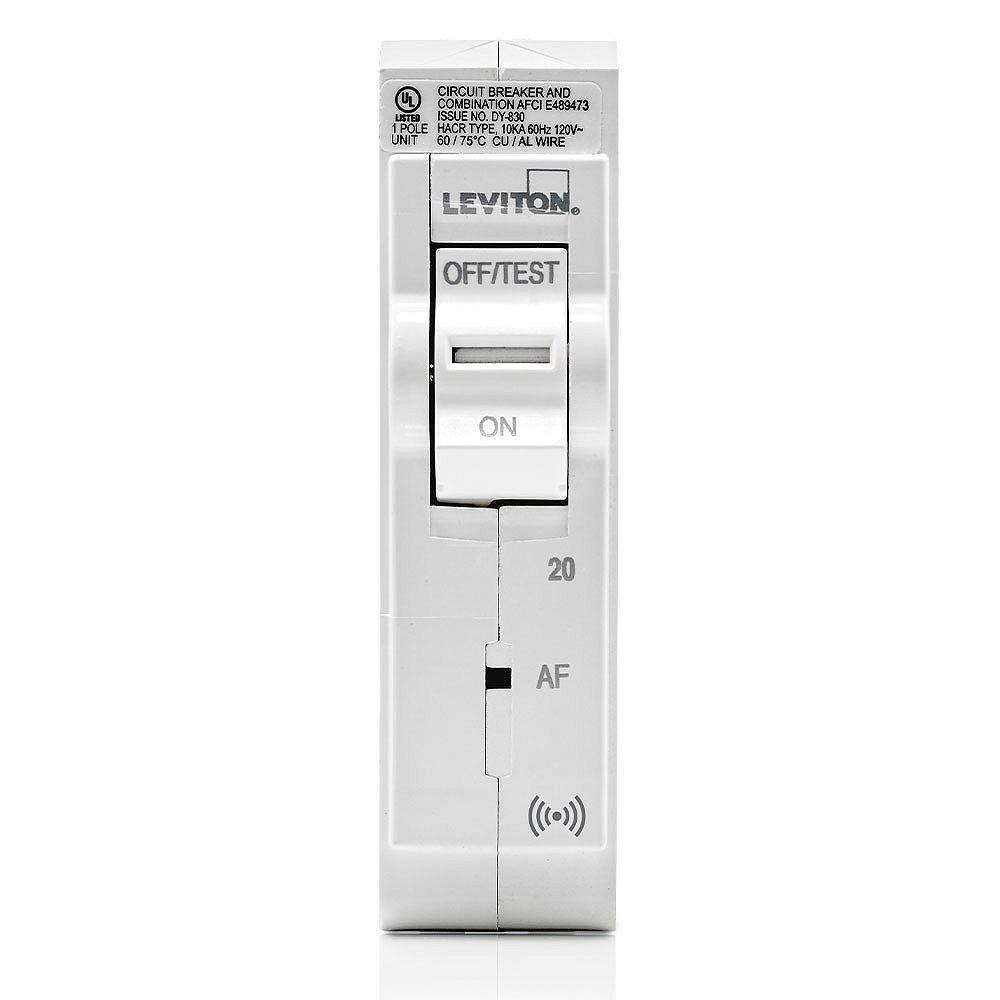 Leviton 20A 120V Unipolaire disjoncteur à DDAA hydraulique magnétique intelligent enfichable