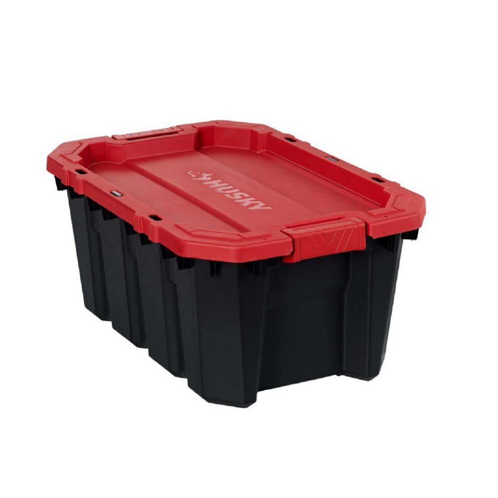 Husky 56.7L Capacity Latch and Stack Tote in Black and Red