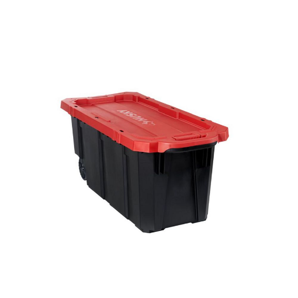 Husky 170L Capacity Latch and Stack Tote with Wheels in Black and Red