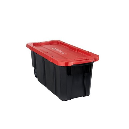 170L Capacity Latch and Stack Tote with Wheels in Black and Red