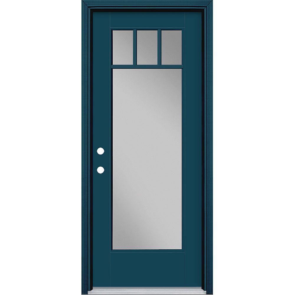 Masonite Porte extérieure de 32 pouces x 80 pouces Vista Grande 4 Lite Craftsman Fibre de verre lisse Bleu à droite