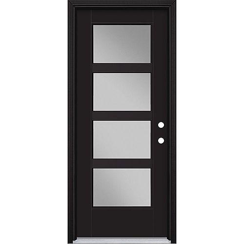32-inch x 80-inch Vista Grande 4 Lite Wide Exterior Door Smooth Fiberglass Black Left-Hand