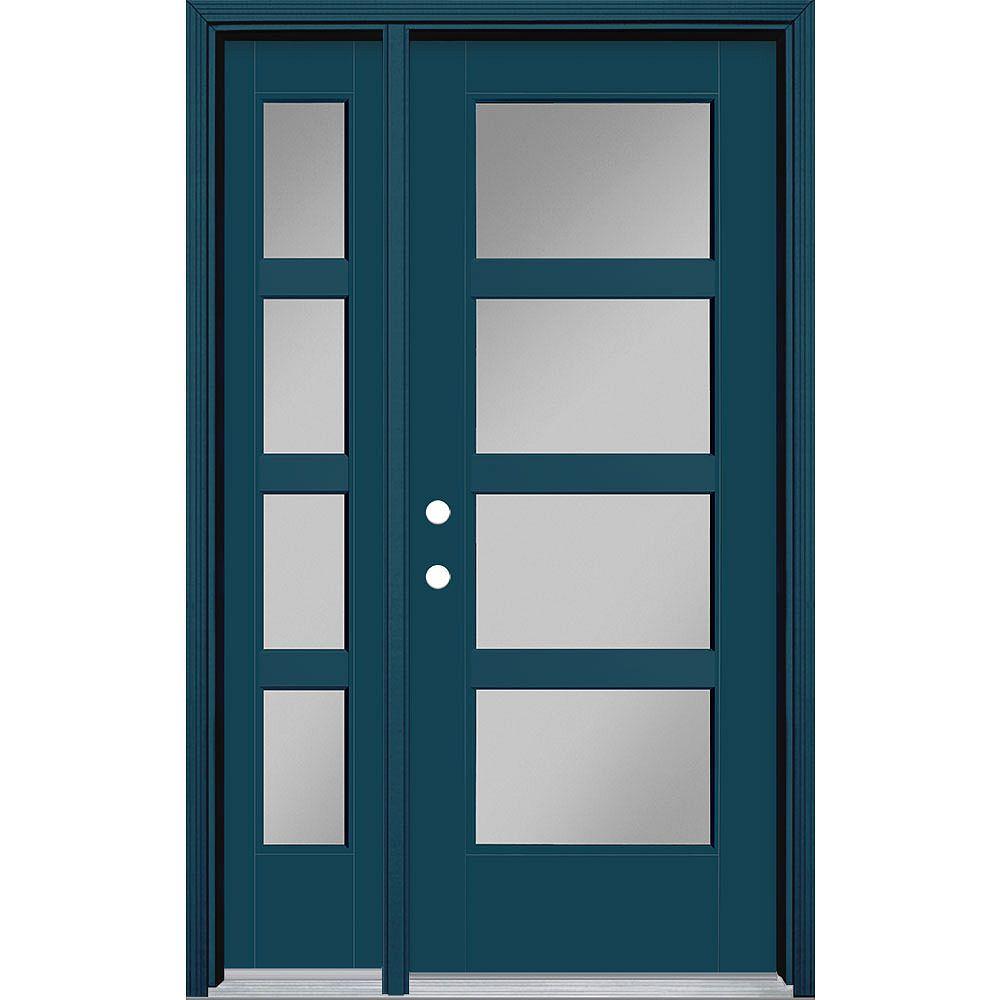 Masonite 32-inch x 80-inch Vista Grande 4 Lite Wide Exterior Door w/ Sidelite Smooth Fiberglass Blue Right-Hand
