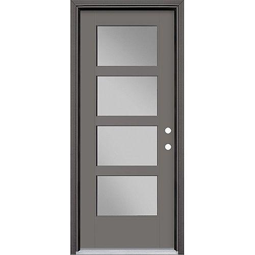 32-inch x 80-inch Vista Grande 4 Lite Wide Exterior Door Smooth Fiberglass Grey Left-Hand