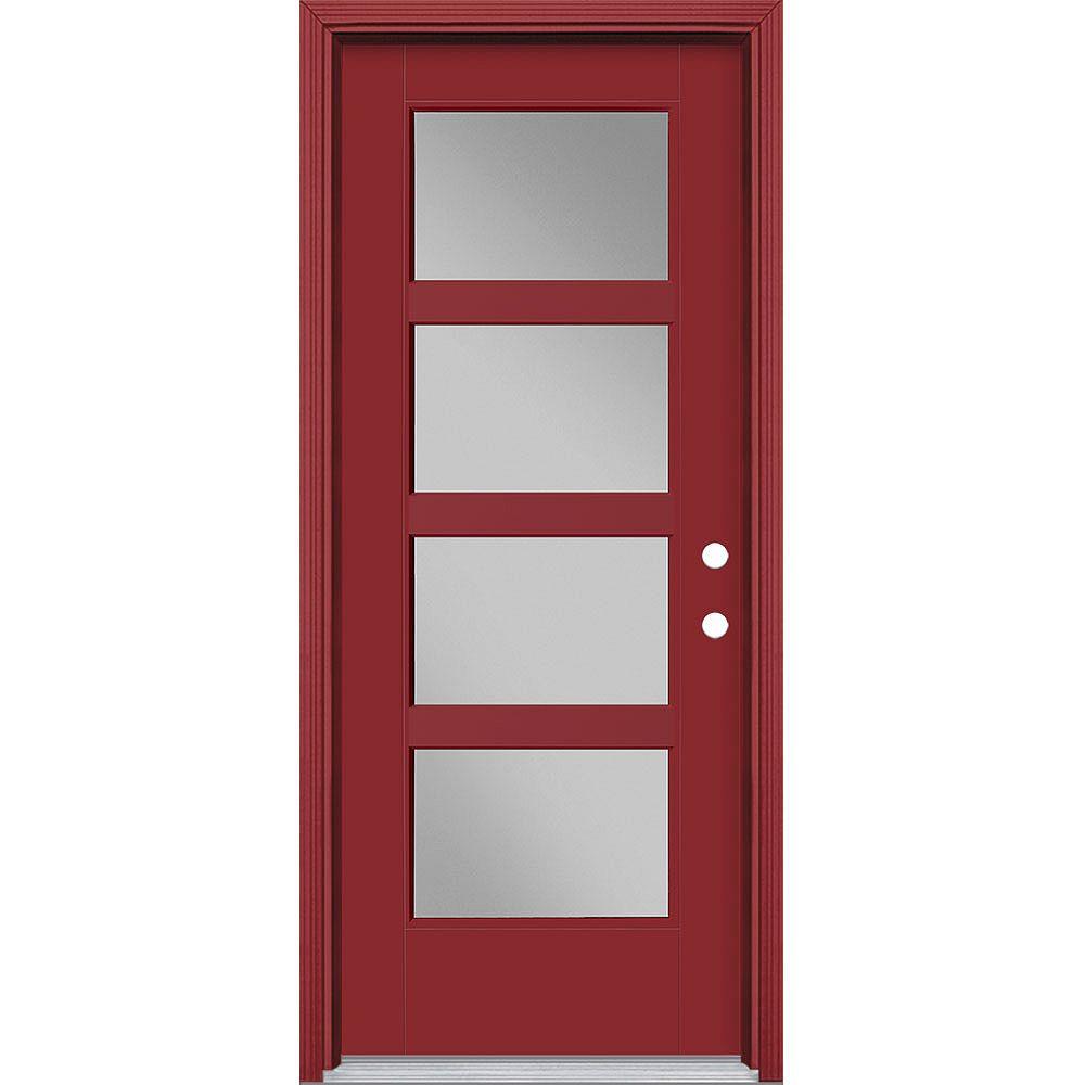 Masonite 32-inch x 80-inch Vista Grande 4 Lite Wide Exterior Door Smooth Fiberglass Red Left-Hand