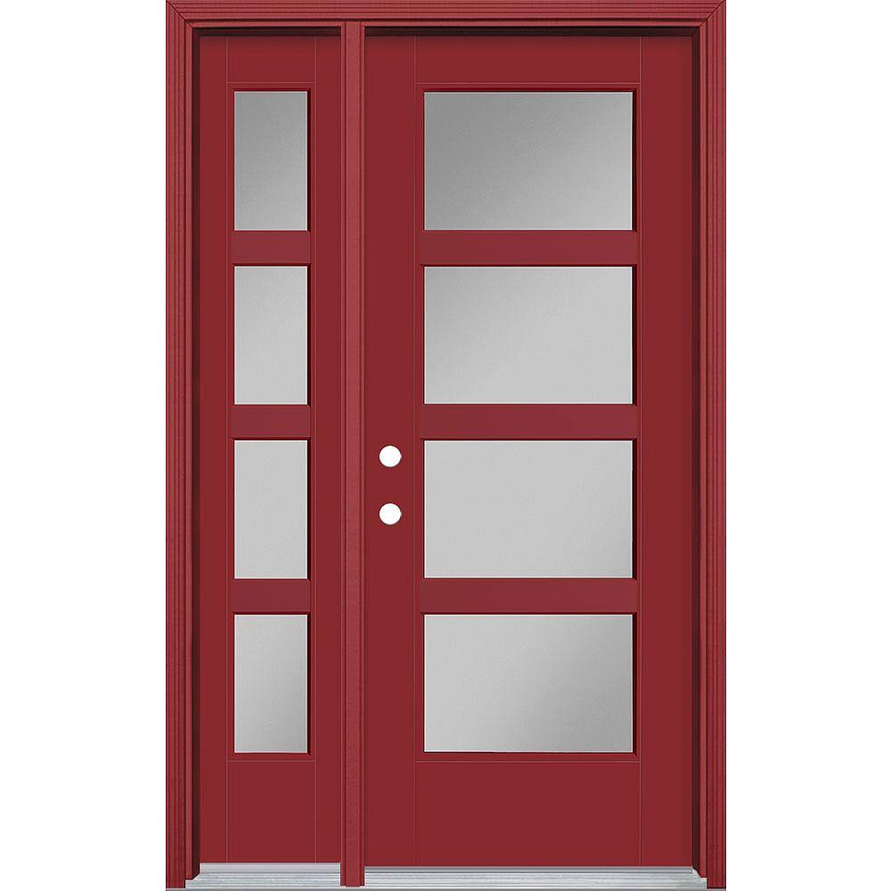 Masonite 32-inch x 80-inch Vista Grande 4 Lite Wide Exterior Door w/ Sidelite Smooth Fiberglass Red Right-Hand