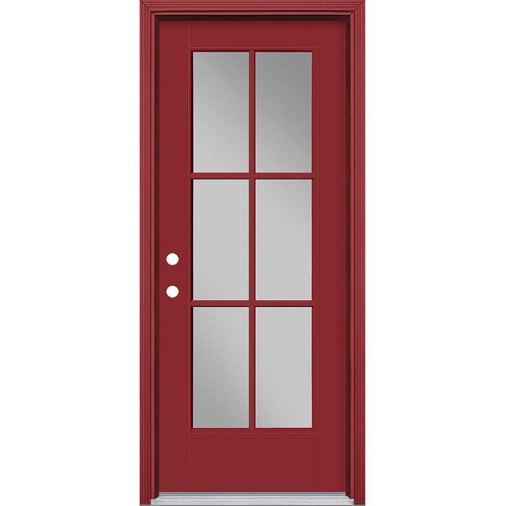 Masonite 32-inch x 80-inch Vista Grande 6 Lite Exterior Door Smooth Fiberglass Red Right-Hand