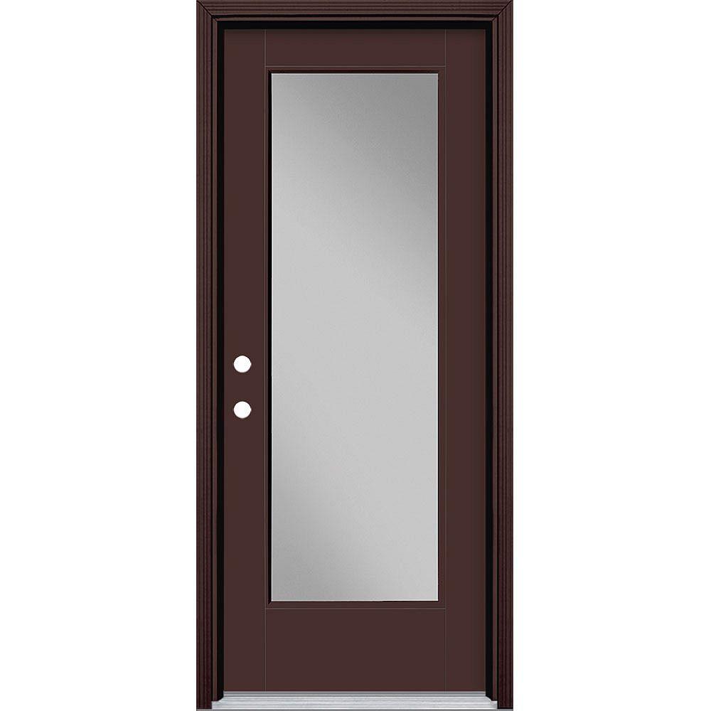Masonite 32-inch x 80-inch Vista Grande Full Lite Exterior Door Smooth Fiberglass Brown Right-Hand