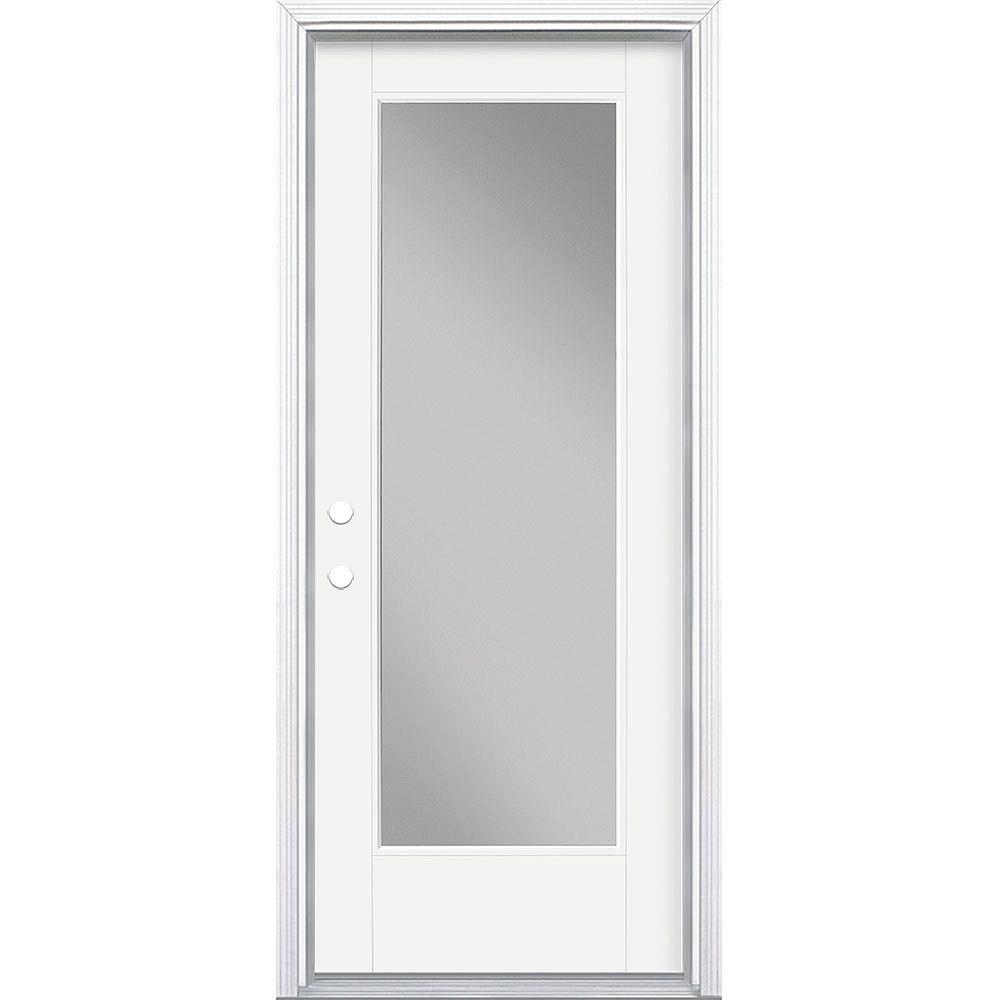 Masonite 32-inch x 80-inch Vista Grande Full Lite Exterior Door Smooth Fiberglass White Right-Hand