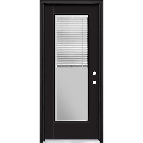 Masonite 32in x 80in Vista Grande Miniblind Exterior Door Smooth Fiberglass Black Left-Hand