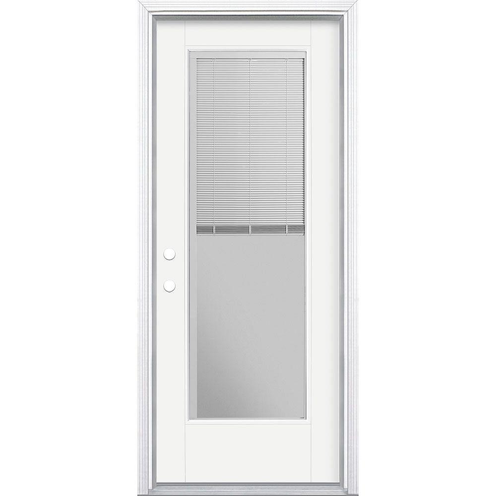 Masonite 32-inch x 80-inch Vista Grande Miniblind Exterior Door Smooth Fiberglass White Right-Hand
