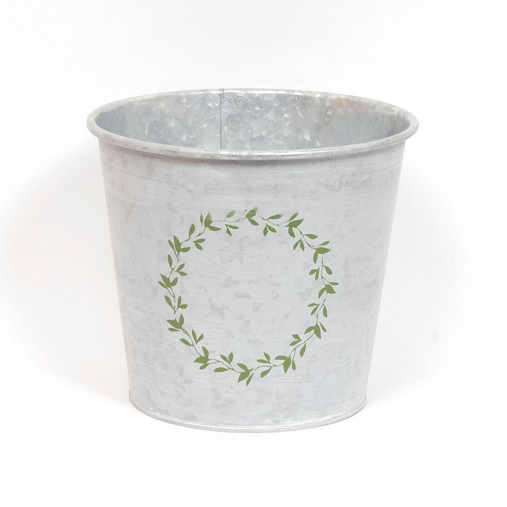 Wicker Bay pot de Noël 8 pouces galvanisé rond