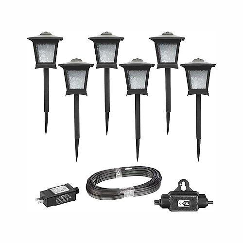 Ensemble de 6 lanternes basse tension a del integré - Noir