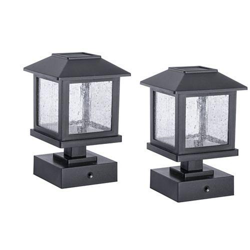 15-Lumen Pedestal Solar Post Cap Light (Set of 2)