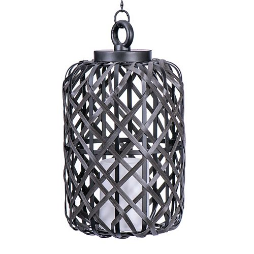 Sterno Home Battery-Operated Woven Basket Candle Pendant Light