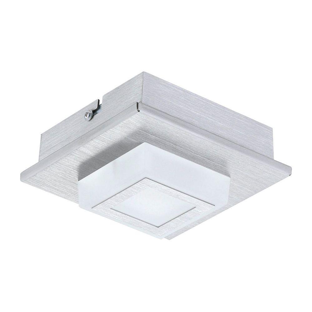 Eglo Masiano Plafonnier 1L, Fini Aluminium Brossé avec Abat-Jour en Acrylique Blanc