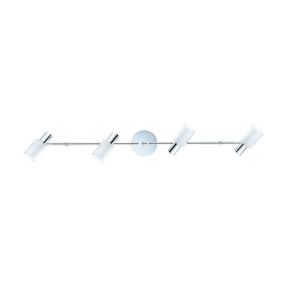 Eglo Mahela Track Light 4L, Chrome Finish with Clear & White Glass