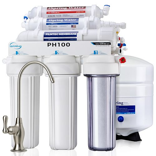 iSpring 6-Stage High Capacity 100GPD Reverse Osmosis Water Filter System w/ Alkaline Filter, US Made Filters