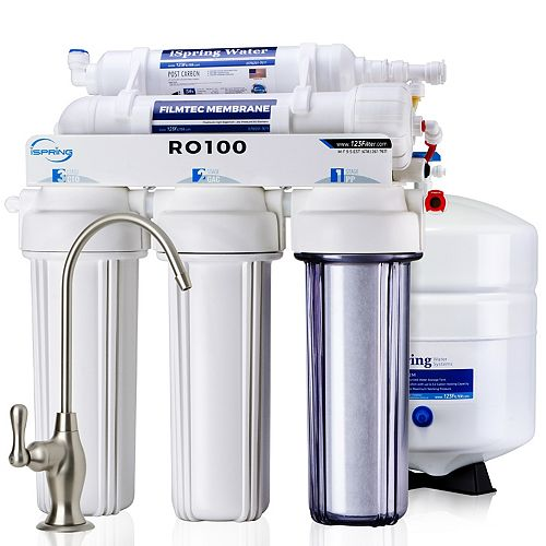 RO100 5-Stage 100 GPD Reverse Osmosis Water Filter System 1:1 Pure to Waste Ratio, US Made Filters