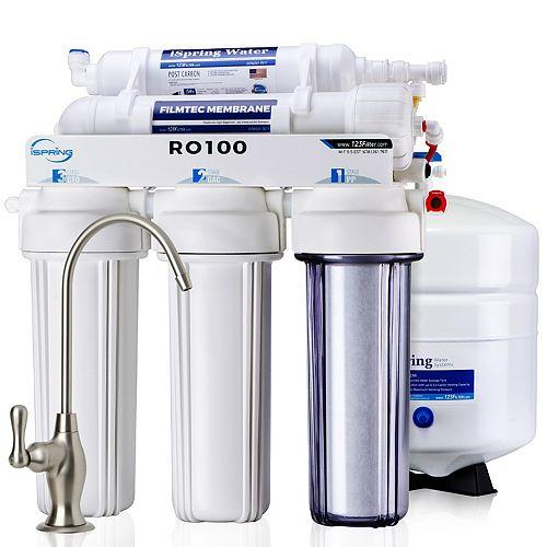Système de filtration d'eau par osmose inverse à 5 étages, 100 GPD, rapport pureté/déchets 1:1