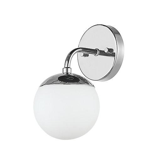 Vanité à 1 lumière de la collection Vega en chromé avec abat-jour en verre givré