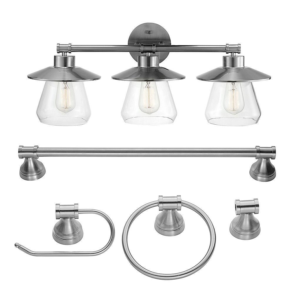 Globe Electric Nate 5-Piece Brushed Steel All-In-One Bathroom Set