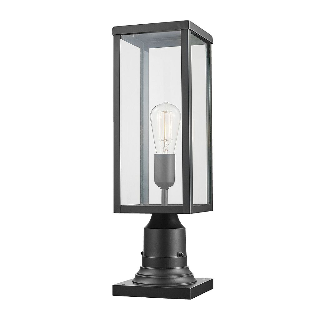 Globe Electric Lampadaire extérieur à 1 lumière de la collection Bowery avec base adaptable, en noir mat