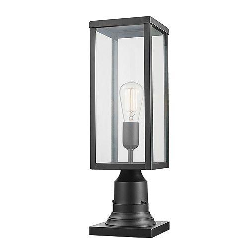 Lampadaire extérieur à 1 lumière de la collection Bowery avec base adaptable, en noir mat