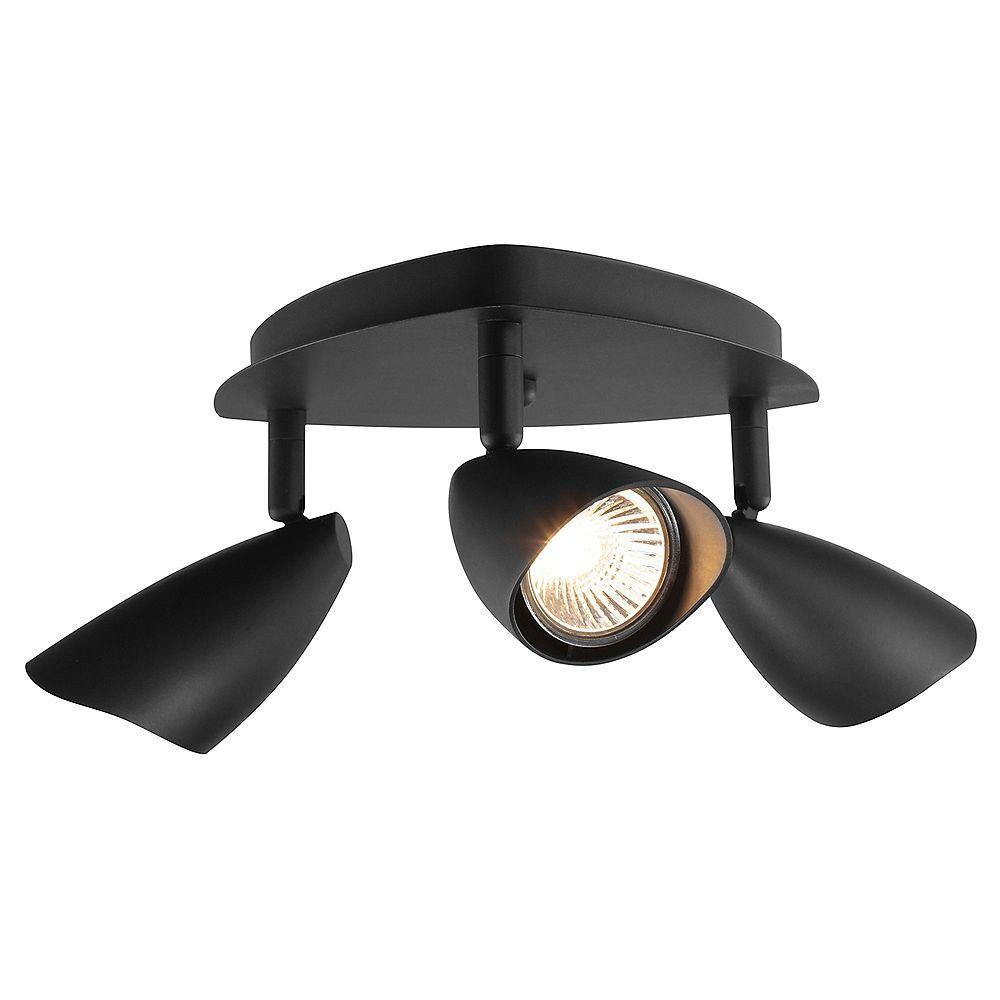 Globe Electric Rail d'éclairage en canopé à 3 lumières de la collection Grayson en noir mat