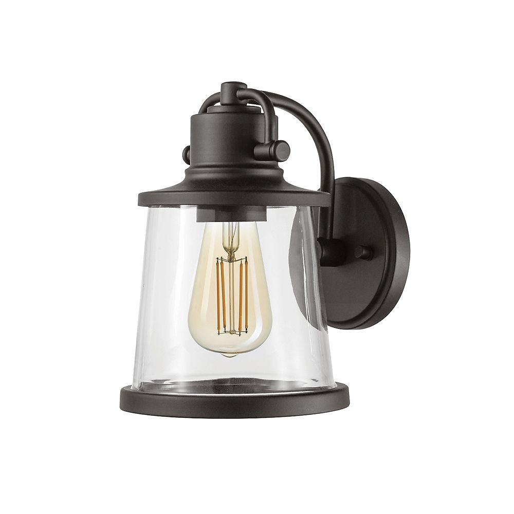 Globe Electric Charlie 1-Light Outdoor Indoor Wall Sconce in Matte Black with Clear Glass Shade, LED Bulb Included