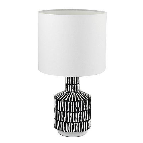 Globe Electric Aria 18 in. Black and White Patterned Table Lamp with White Fabric Shade