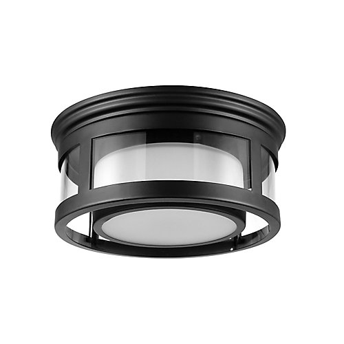 Brisbane 1-Light Matte Black Outdoor Indoor Flush Mount Ceiling Light with Frosted Glass Shade