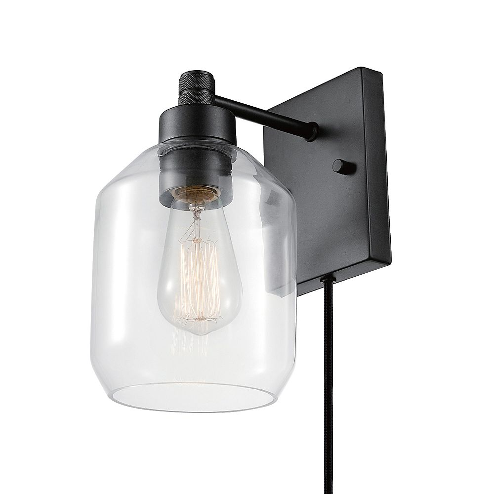 Globe Electric Middleton 1-Light Dark Bronze Plug-In or Hardwire Wall Sconce with Clear Glass Shade