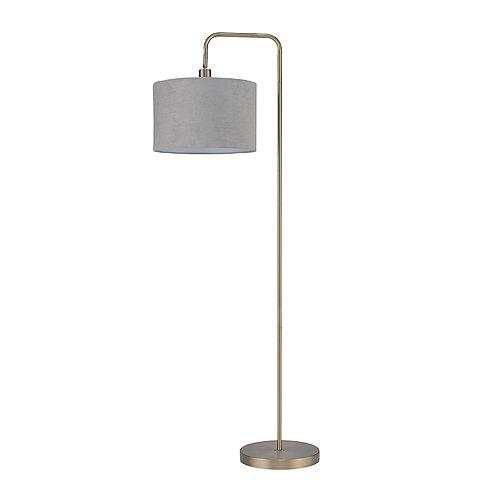 Barden 58 inch Brass Floor Lamp with Light Gray Velvet Shade