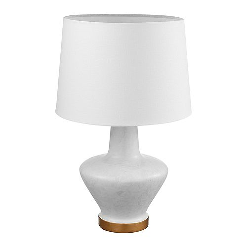 Lampe de table de 18 po de collection Serena blanche et abat-jour en blanc