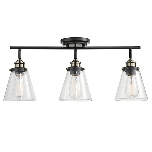 Globe Electric Jackson 3-Light Dark Bronze Track Lighting Kit with Antique Brass Accents