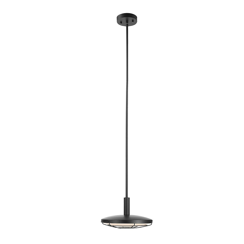 Globe Electric Skye LED Integrated Black Outdoor Indoor Dimmable Pendant Lighting with Frosted Diffuser