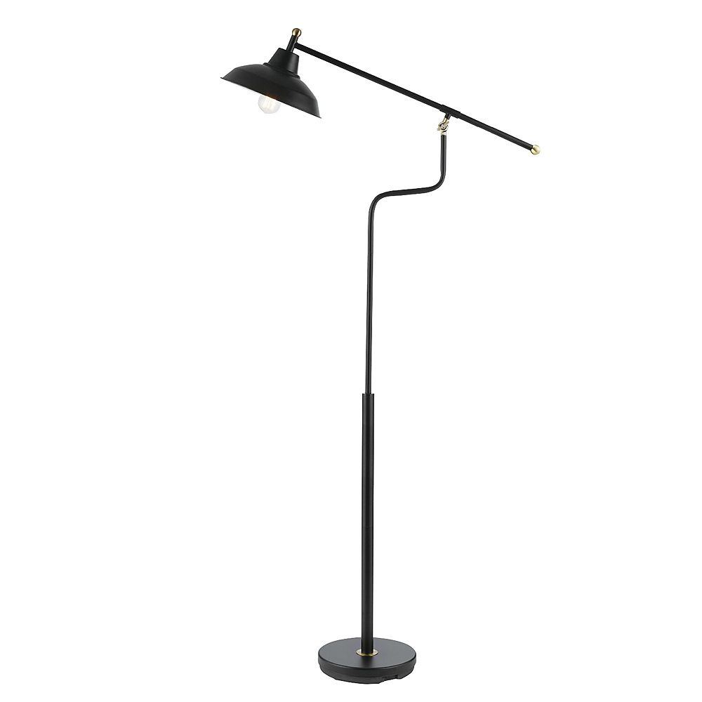 Globe Electric Carlton 63-inch Matte Black Floor Lamp with Antique Brass Accents