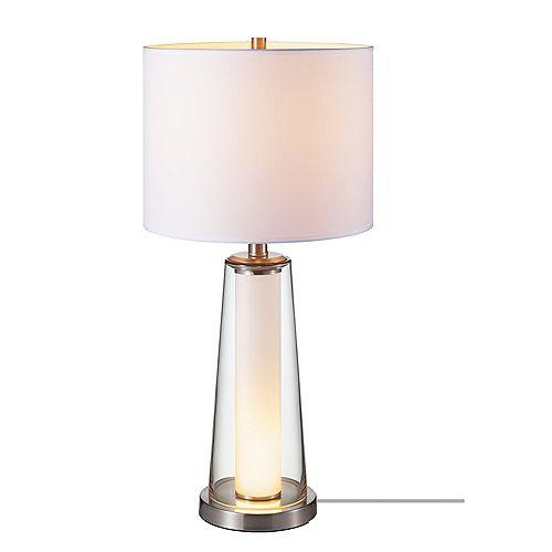 Lampe de table de collection Hailey en de couleur nickel brossé avec abat-jour en lin blanc