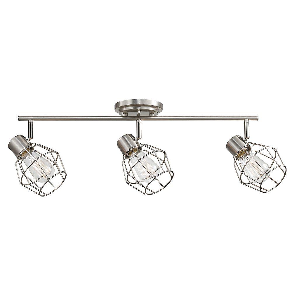 Globe Electric Luminaire sur rail à 3 lumières de collection Jax en de couleur nickel brossé, ampoules incluses