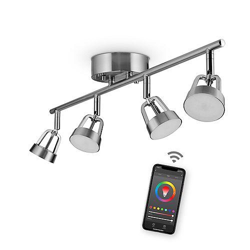 Rail d'éclairage intelligent DEL Wi-Fi à 4 lumières, fini en nickel brossé, 28 watts