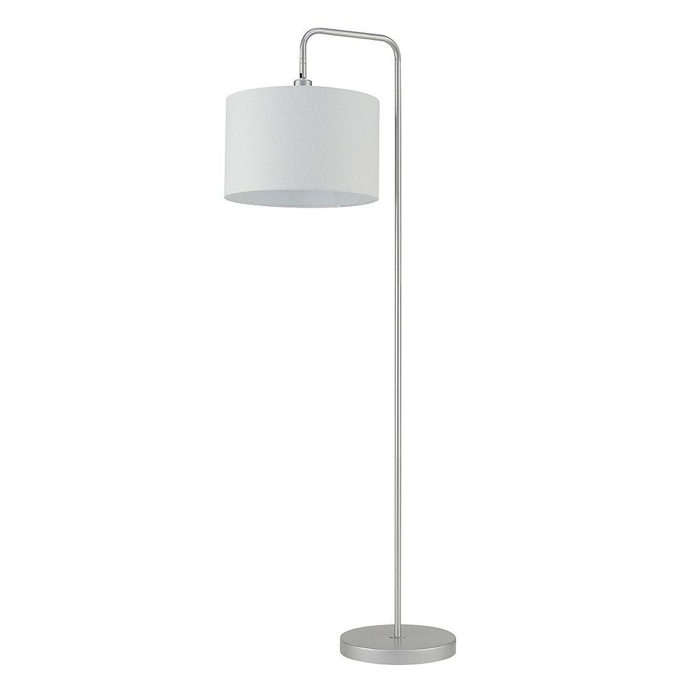 Globe Electric Lampe sur pied de 58 po de collection Barden en de couleur argent avec abat-jour en tissu blanc