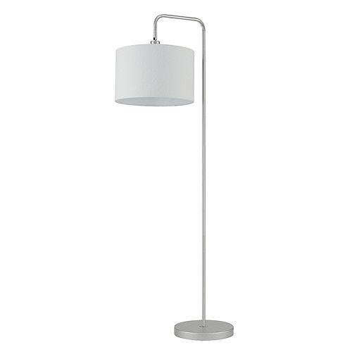 Lampe sur pied de 58 po de collection Barden en de couleur argent avec abat-jour en tissu blanc